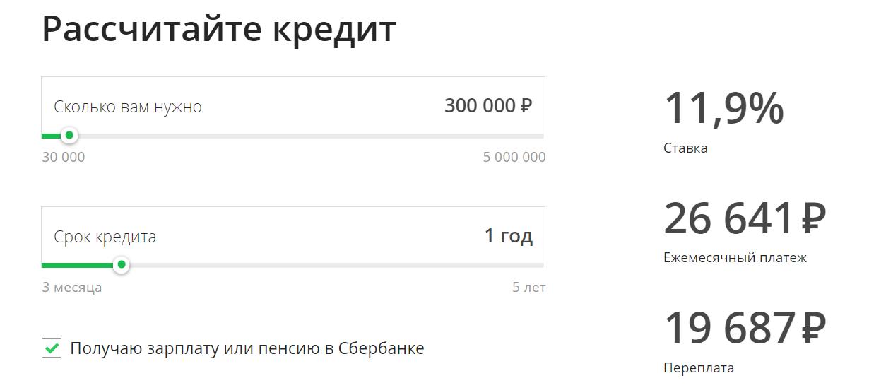 сбербанк калькулятор кредита